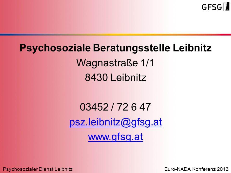 Psychosoziale Beratungsstelle Leibnitz Wagnastraße 1/1 8430 Leibnitz 03452 / 72 6 47 psz.leibnitz@gfsg.at www.gfsg.at