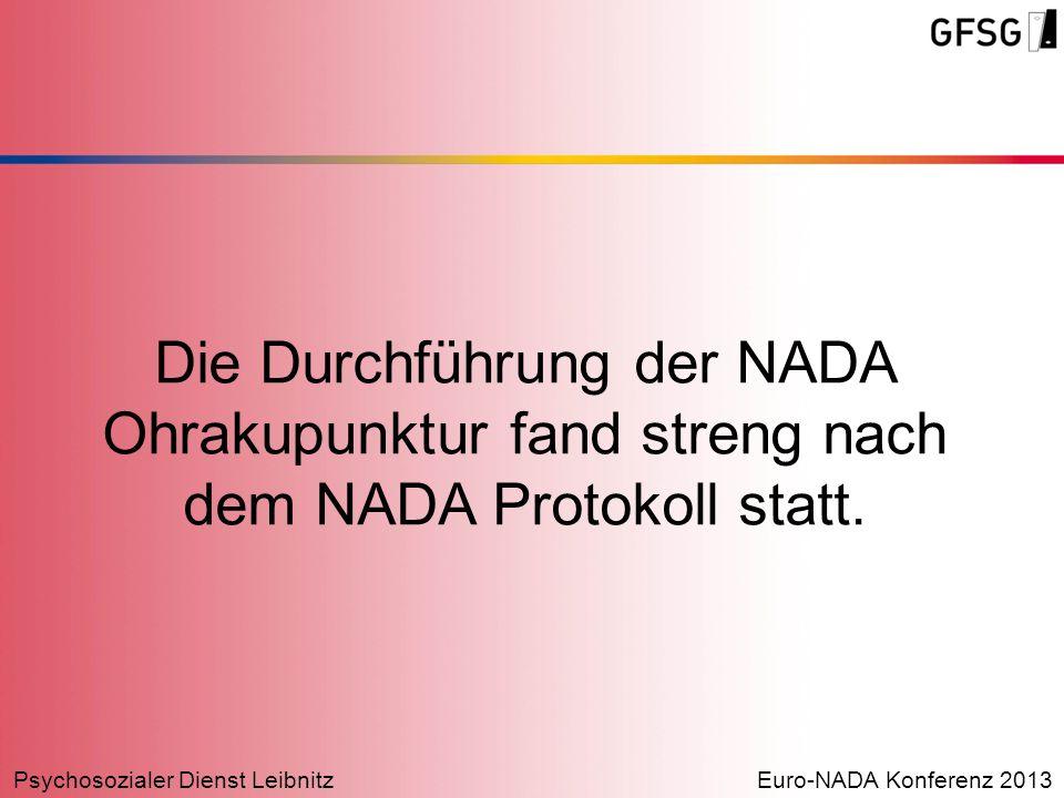 Die Durchführung der NADA Ohrakupunktur fand streng nach dem NADA Protokoll statt.
