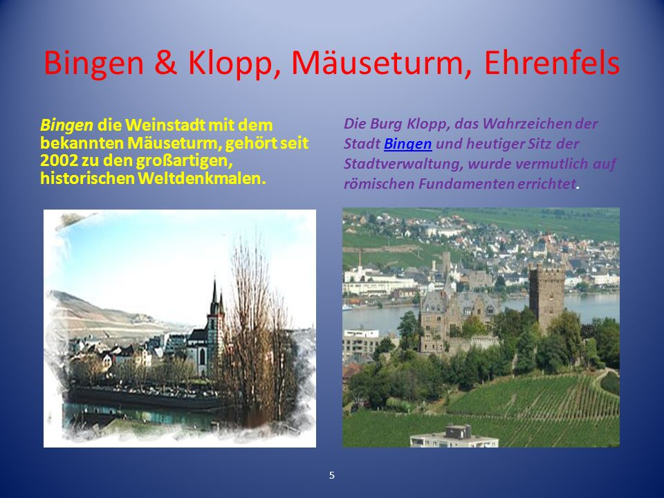 Bingen & Klopp, Mäuseturm, Ehrenfels