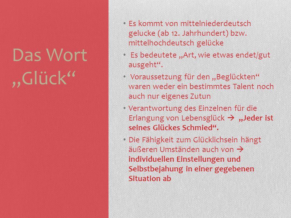 """Das Wort """"Glück Es kommt von mittelniederdeutsch gelucke (ab 12. Jahrhundert) bzw. mittelhochdeutsch gelücke."""