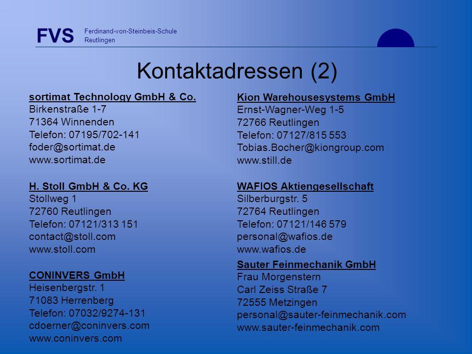 Kontaktadressen (2) sortimat Technology GmbH & Co. Birkenstraße 1-7