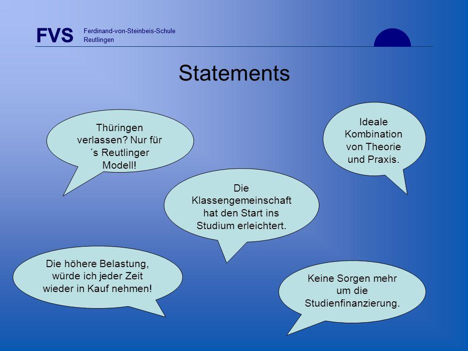 Statements FVS Ideale Kombination von Theorie und Praxis.