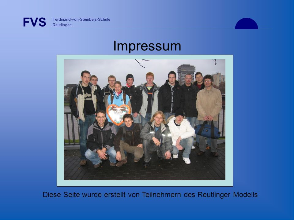 Diese Seite wurde erstellt von Teilnehmern des Reutlinger Modells
