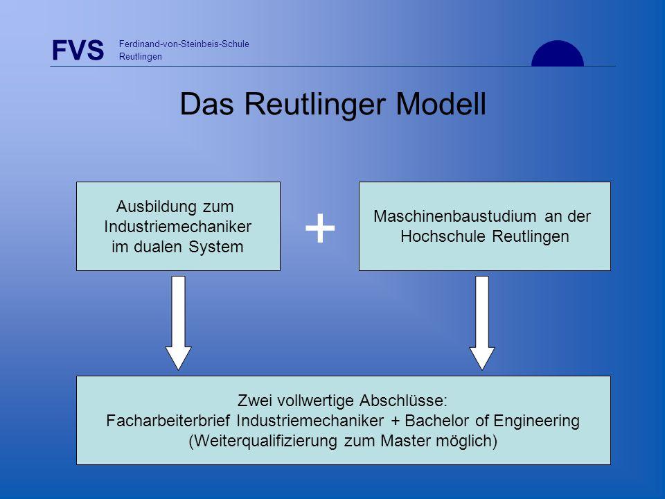 + Das Reutlinger Modell Ausbildung zum Maschinenbaustudium an der
