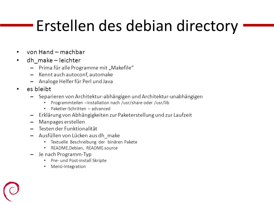 Erstellen des debian directory
