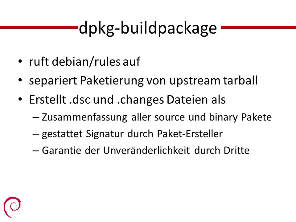 dpkg-buildpackage ruft debian/rules auf