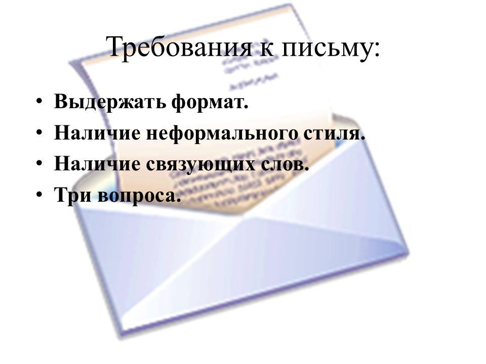 Требования к письму: Выдержать формат. Наличие неформального стиля.