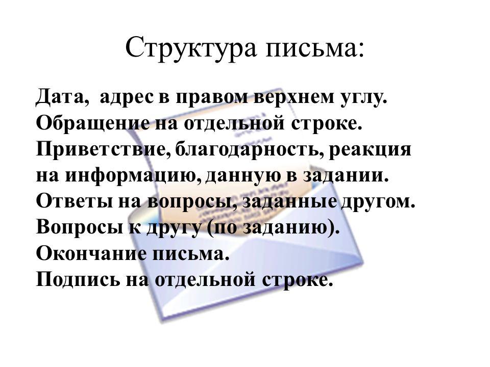 Структура письма: Дата, адрес в правом верхнем углу.