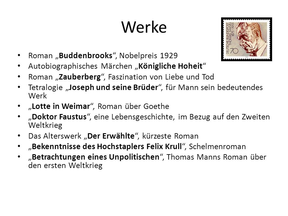 "Werke Roman ""Buddenbrooks , Nobelpreis 1929"