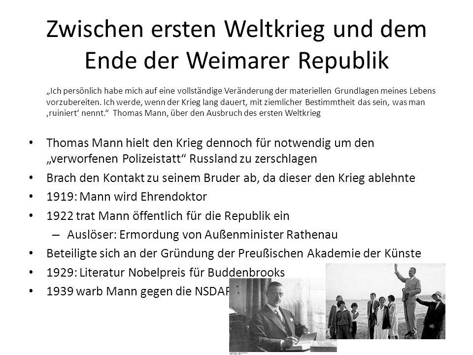 Zwischen ersten Weltkrieg und dem Ende der Weimarer Republik