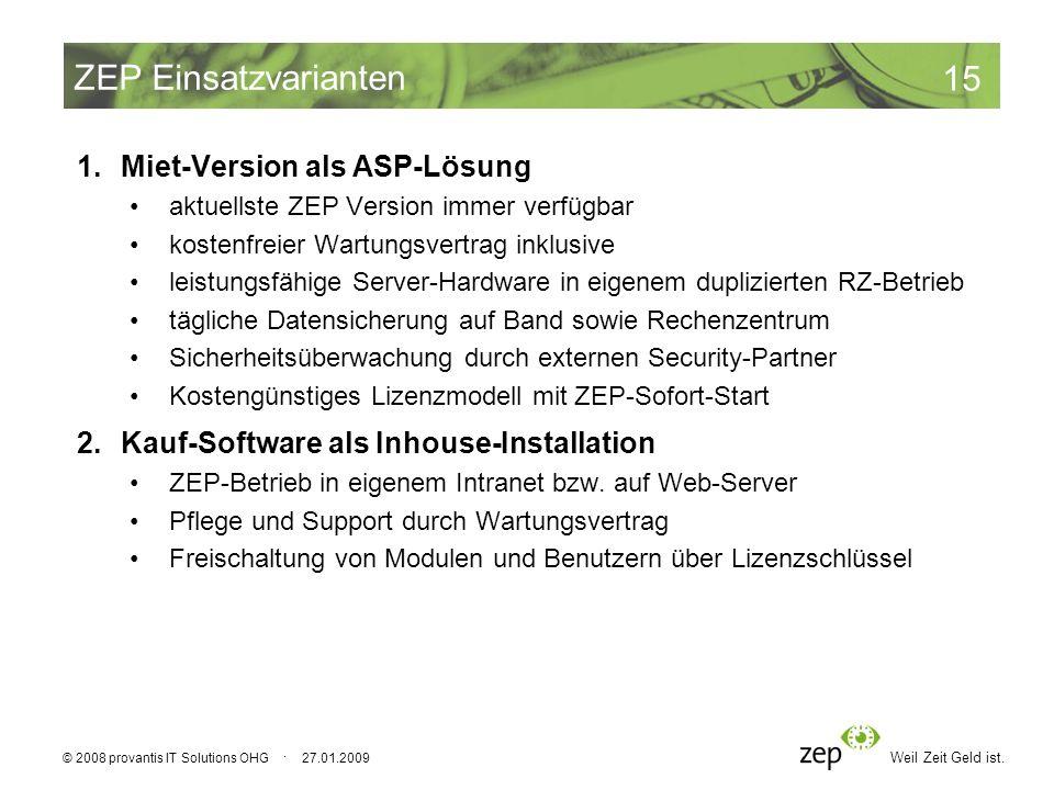 ZEP Einsatzvarianten Miet-Version als ASP-Lösung