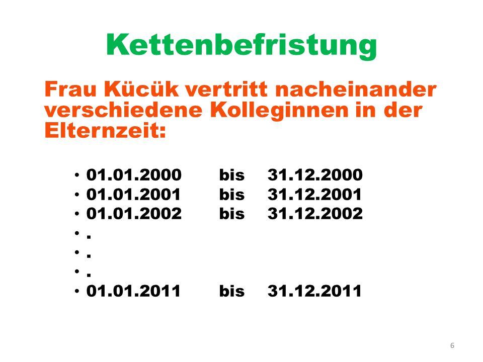 Kettenbefristung Frau Kücük vertritt nacheinander verschiedene Kolleginnen in der Elternzeit: 01.01.2000 bis 31.12.2000.