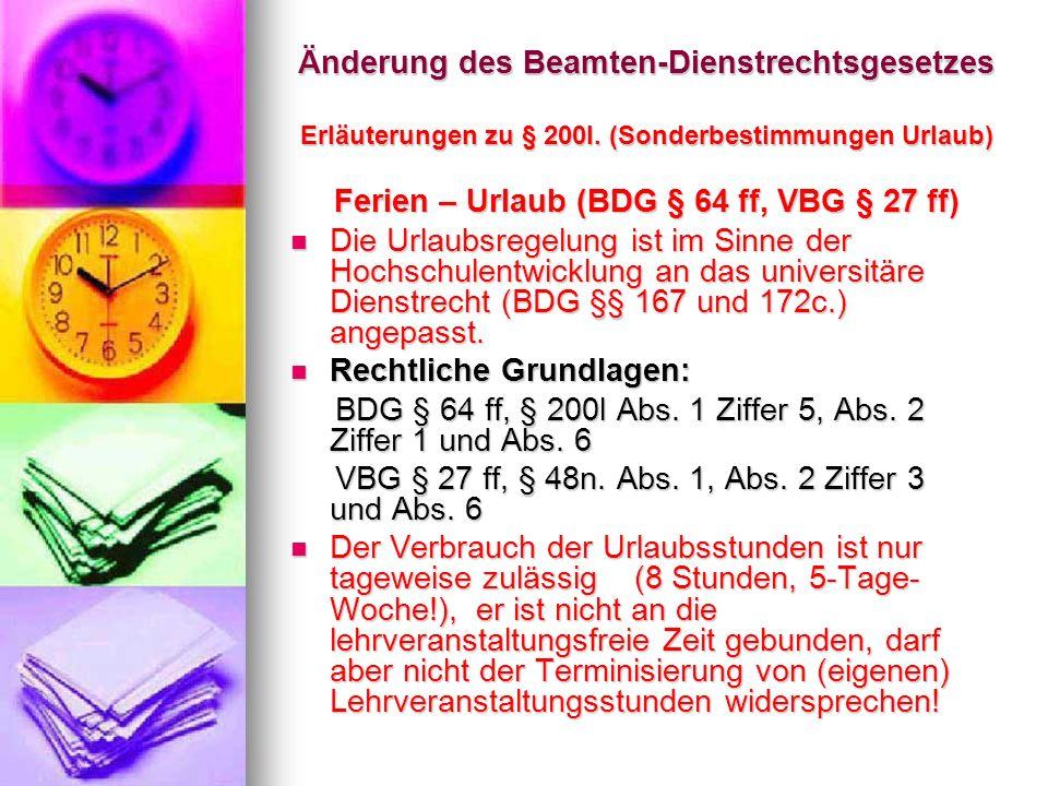 Ferien – Urlaub (BDG § 64 ff, VBG § 27 ff)