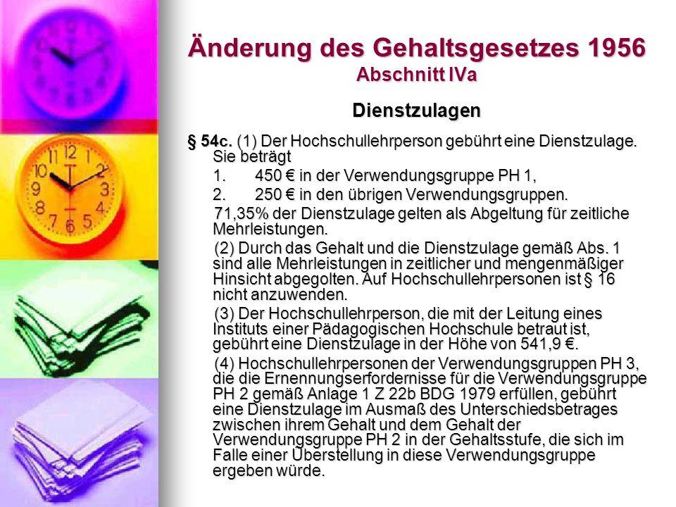 Änderung des Gehaltsgesetzes 1956 Abschnitt IVa