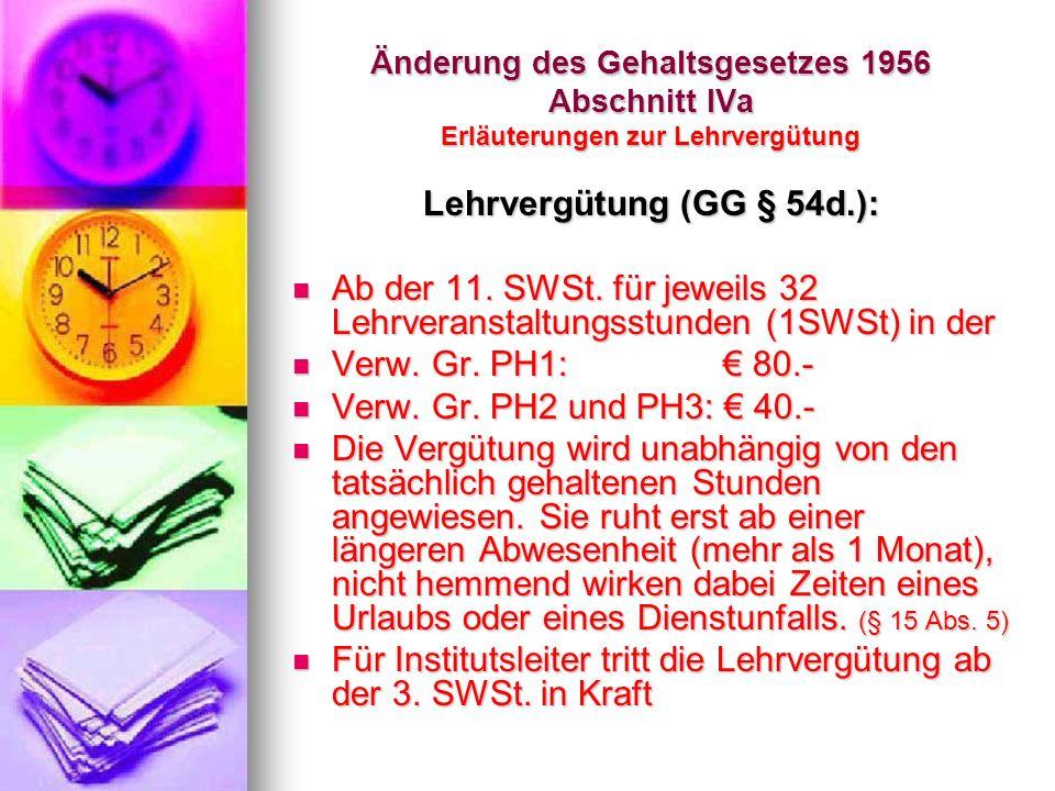 Lehrvergütung (GG § 54d.):