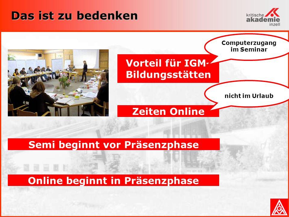 Computerzugang im Seminar
