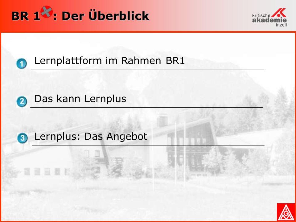 BR 1 : Der Überblick Lernplattform im Rahmen BR1 Das kann Lernplus