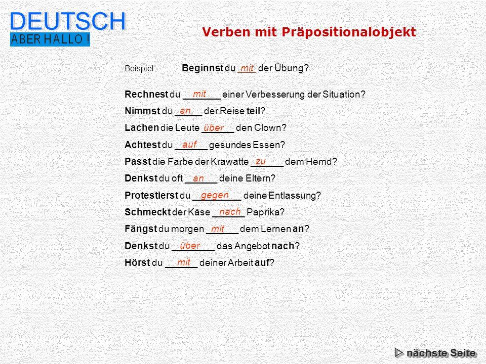 DEUTSCH Verben mit Präpositionalobjekt  nächste Seite