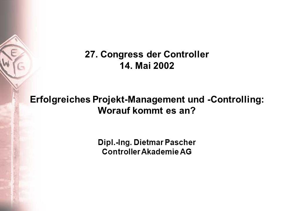27. Congress der Controller 14. Mai 2002