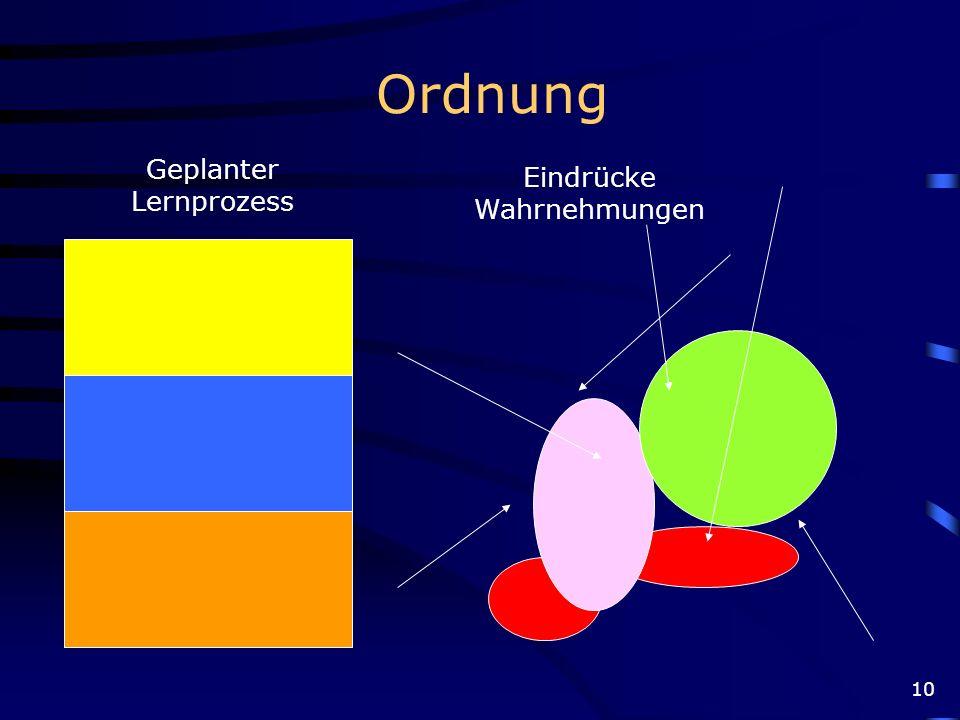 Ordnung Geplanter Lernprozess Eindrücke Wahrnehmungen