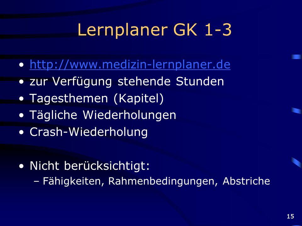 Lernplaner GK 1-3 http://www.medizin-lernplaner.de