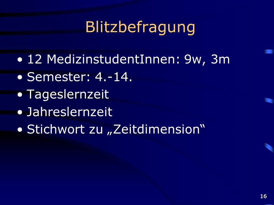 Blitzbefragung 12 MedizinstudentInnen: 9w, 3m Semester: 4.-14.