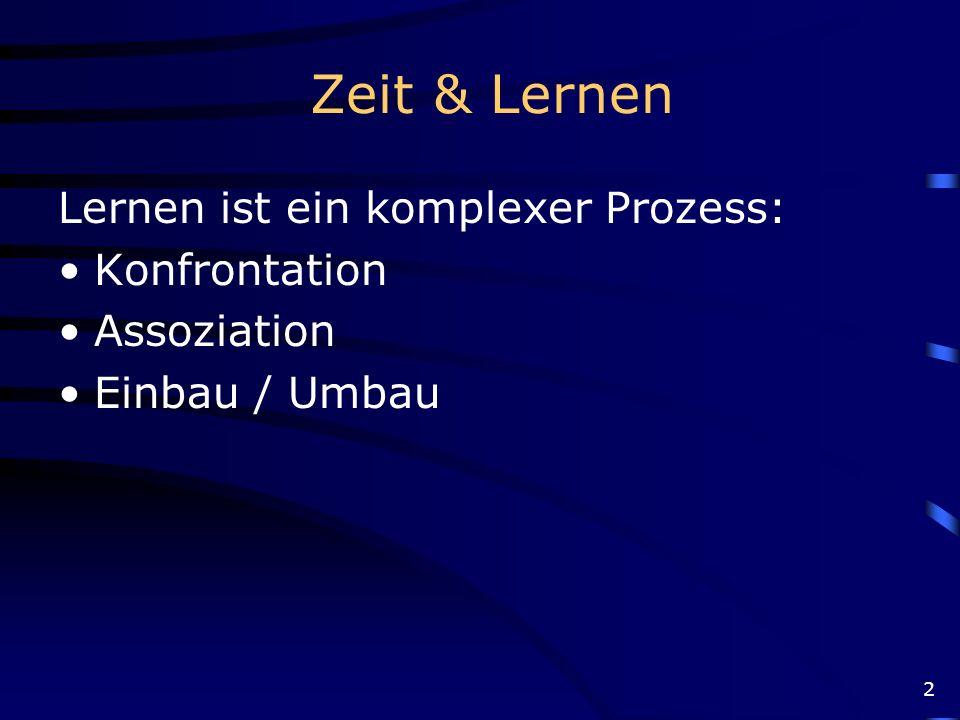 Zeit & Lernen Lernen ist ein komplexer Prozess: Konfrontation