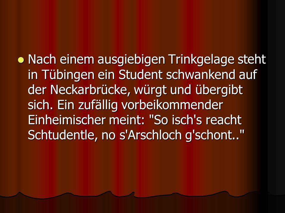 Nach einem ausgiebigen Trinkgelage steht in Tübingen ein Student schwankend auf der Neckarbrücke, würgt und übergibt sich.