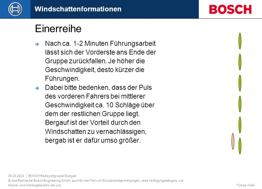 Einerreihe Windschattenformationen