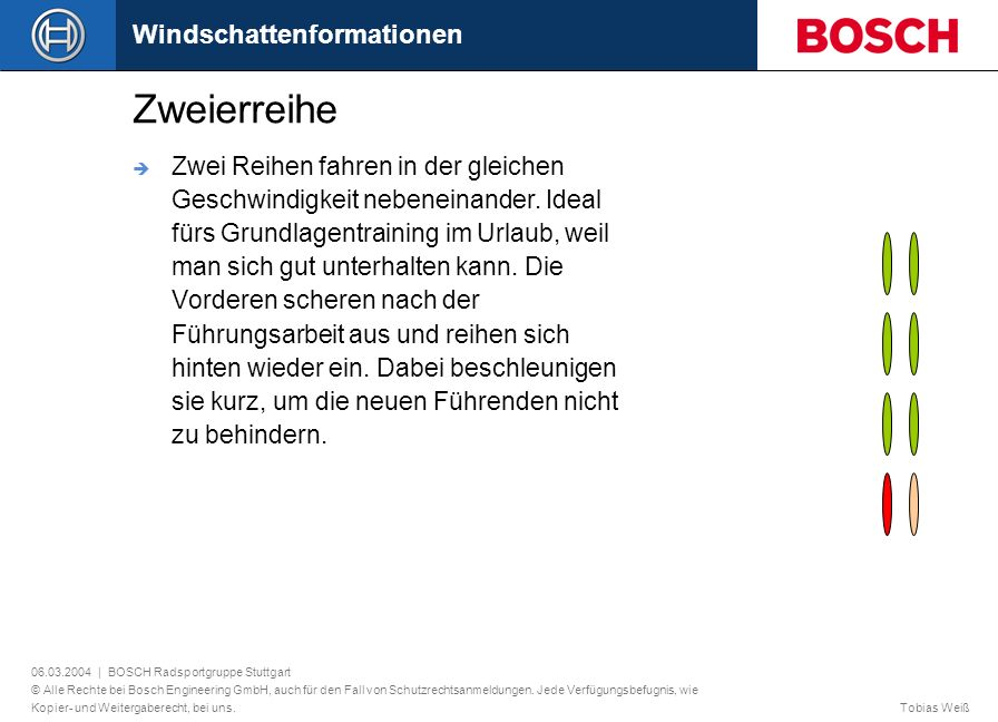 Zweierreihe Windschattenformationen