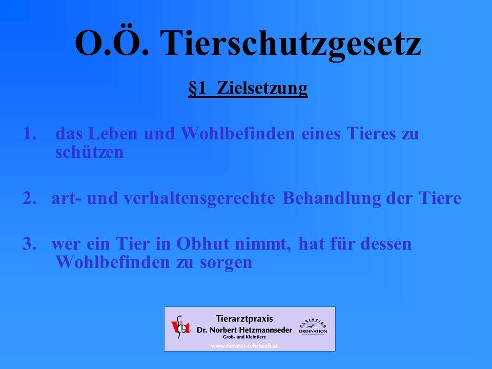 O.Ö. Tierschutzgesetz §1 Zielsetzung
