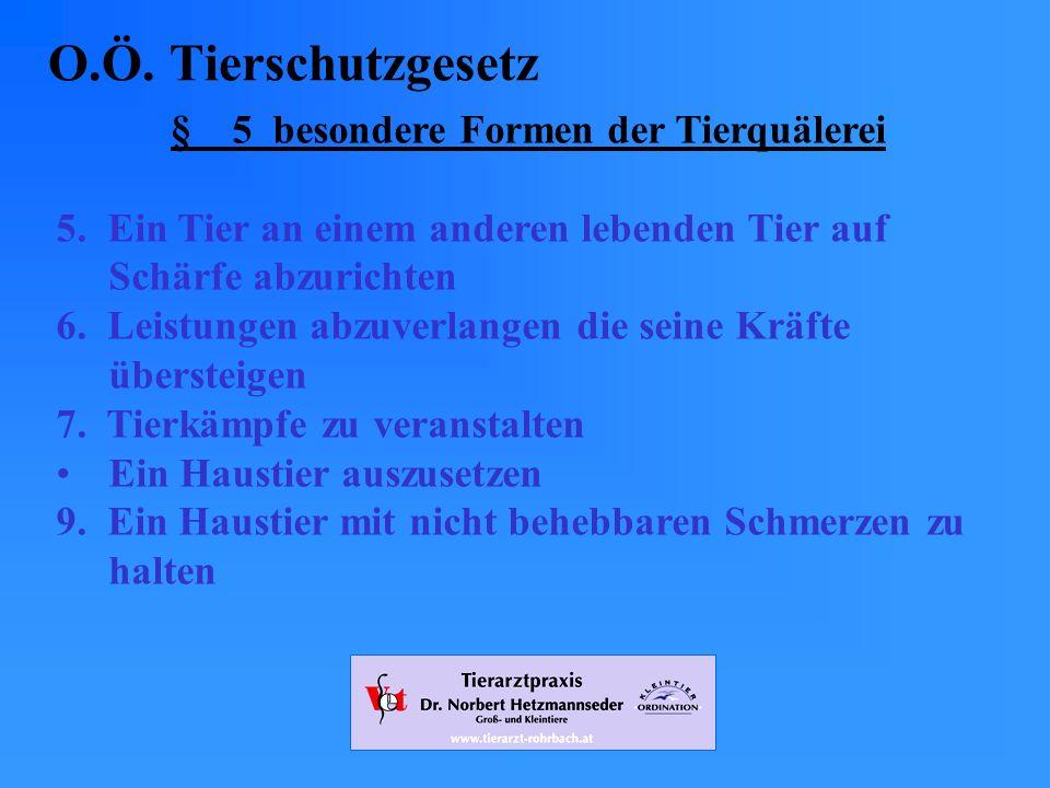 § 5 besondere Formen der Tierquälerei