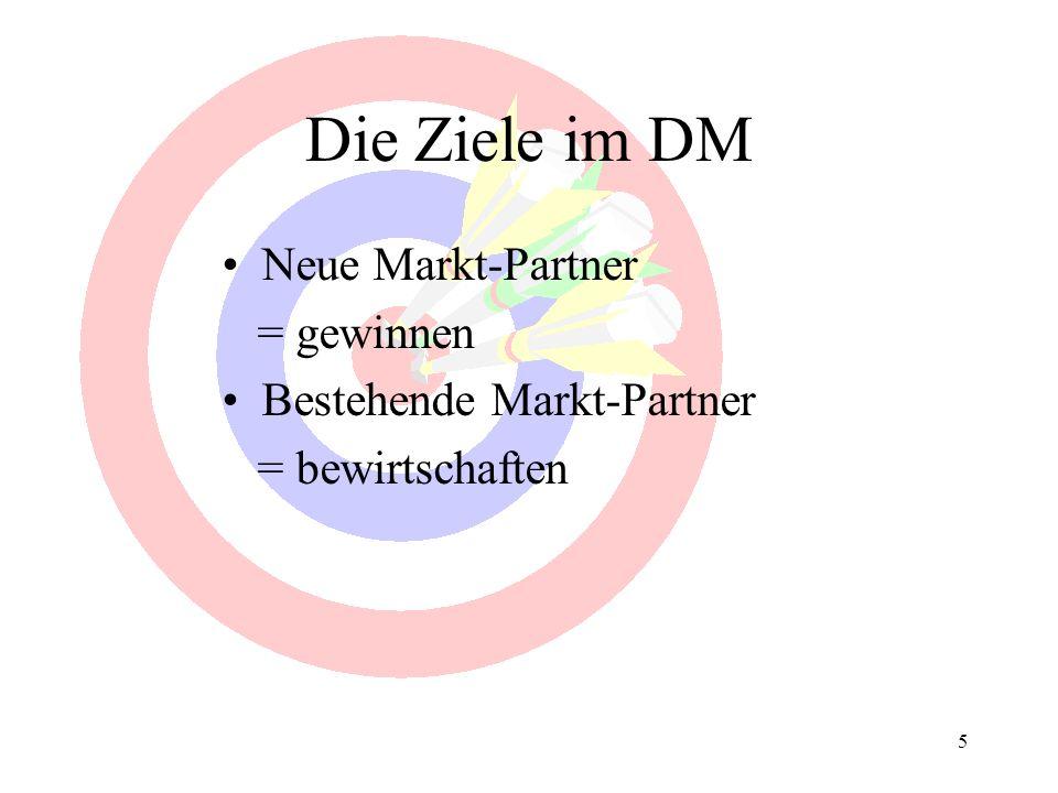 Die Ziele im DM Neue Markt-Partner = gewinnen Bestehende Markt-Partner