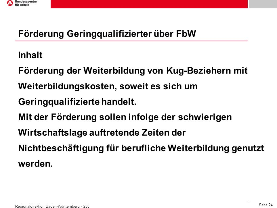 Förderung Geringqualifizierter über FbW