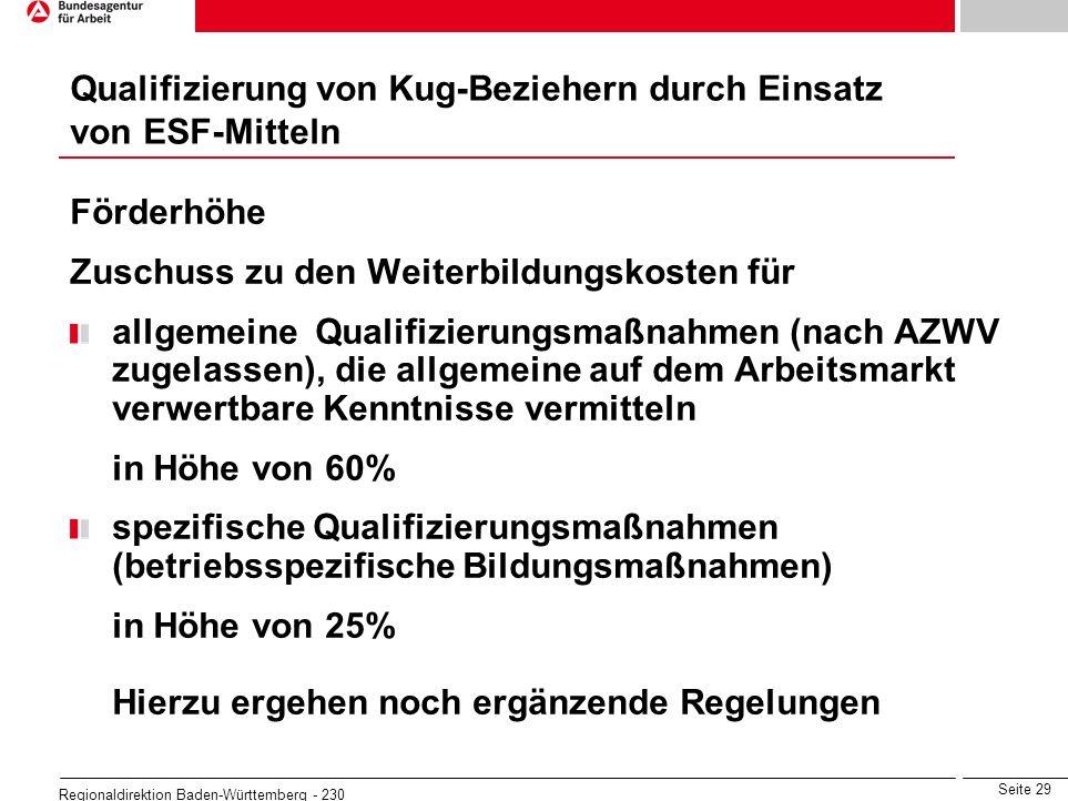 Qualifizierung von Kug-Beziehern durch Einsatz von ESF-Mitteln