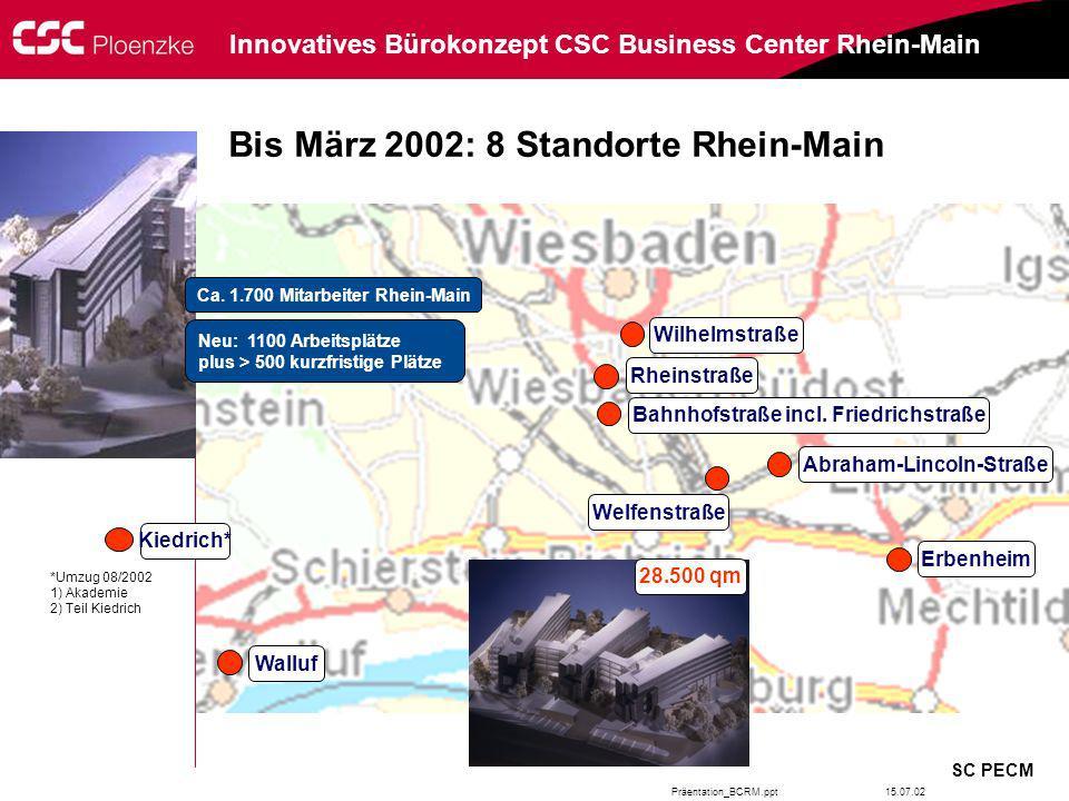 Bis März 2002: 8 Standorte Rhein-Main