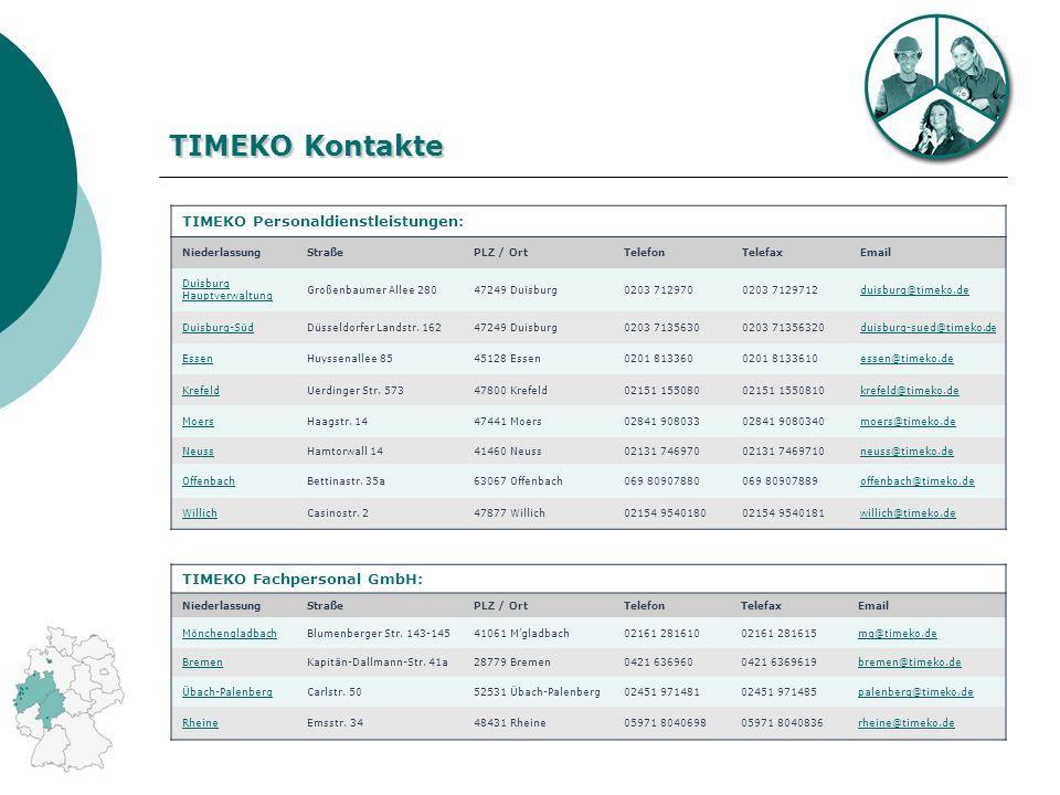 TIMEKO Kontakte TIMEKO Personaldienstleistungen: