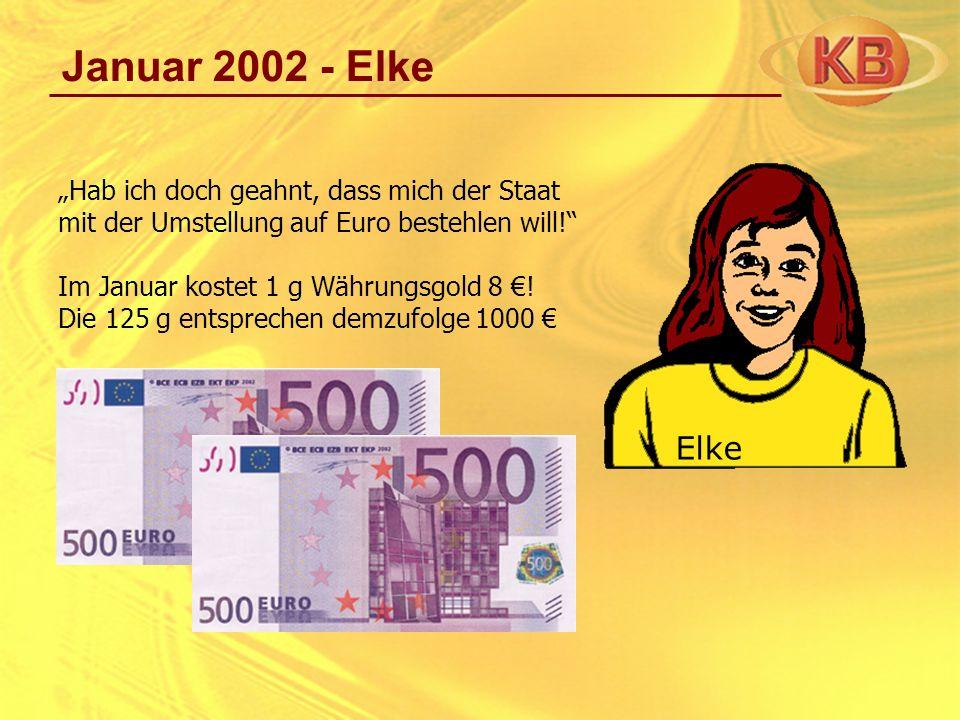 """Januar 2002 - Elke """"Hab ich doch geahnt, dass mich der Staat mit der Umstellung auf Euro bestehlen will!"""