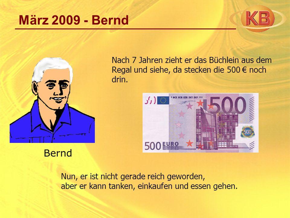 März 2009 - Bernd Nach 7 Jahren zieht er das Büchlein aus dem Regal und siehe, da stecken die 500 € noch drin.