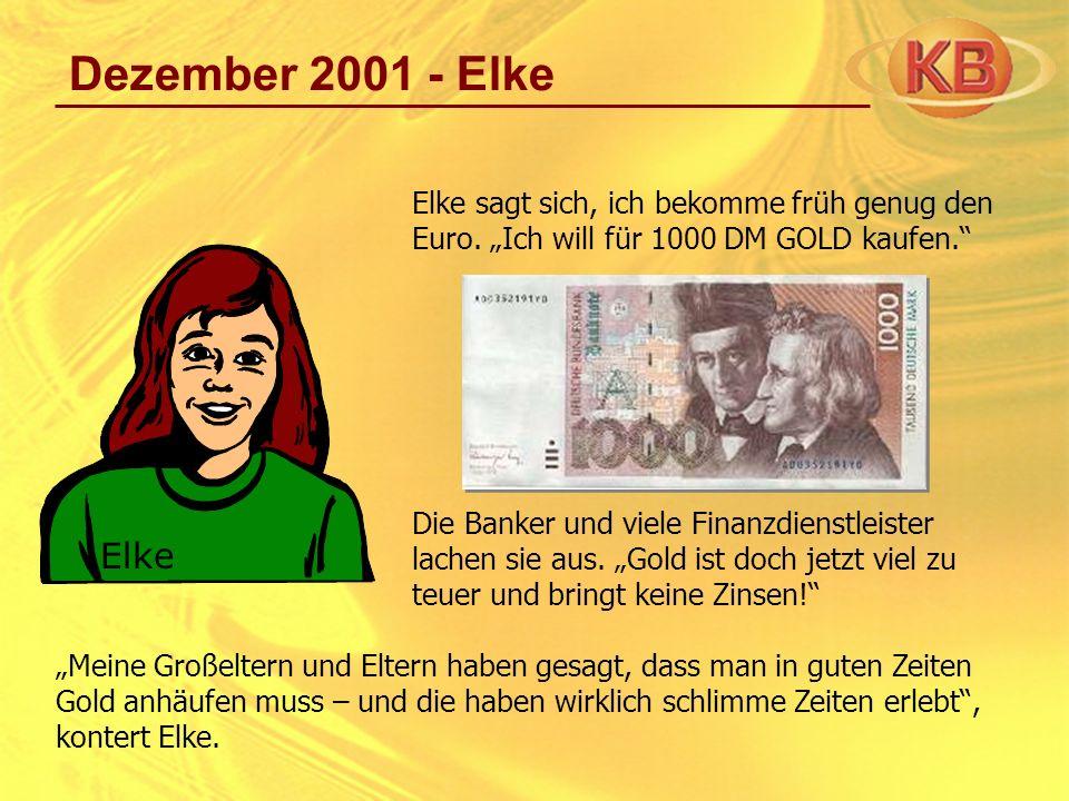 """Dezember 2001 - Elke Elke sagt sich, ich bekomme früh genug den Euro. """"Ich will für 1000 DM GOLD kaufen."""