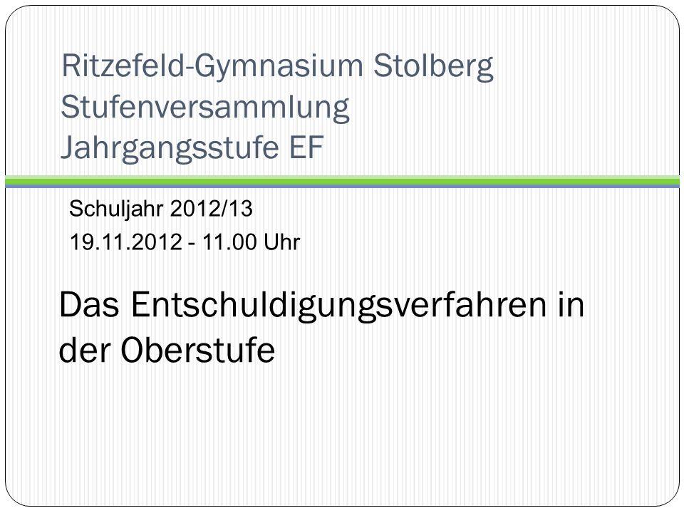 Ritzefeld-Gymnasium Stolberg Stufenversammlung Jahrgangsstufe EF