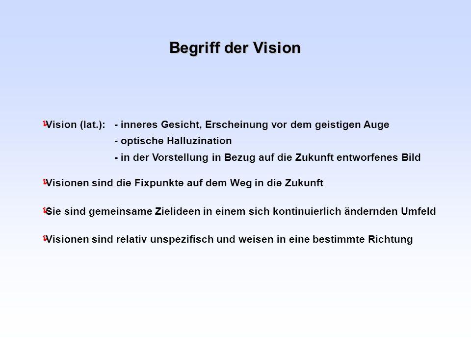 Begriff der VisionVisionen sind die Fixpunkte auf dem Weg in die Zukunft.