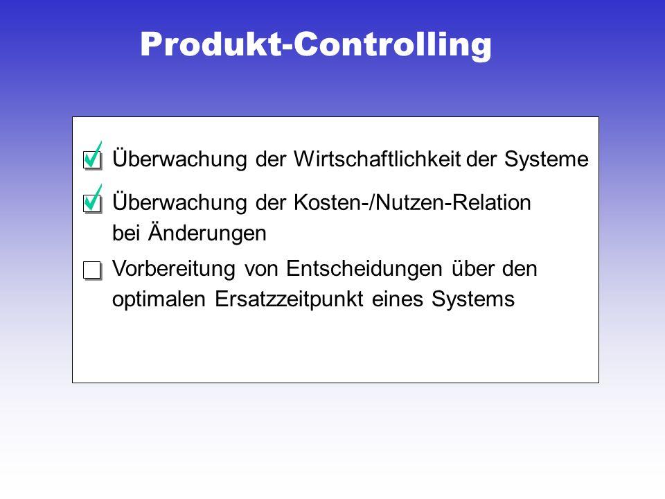 Produkt-Controlling Überwachung der Wirtschaftlichkeit der Systeme
