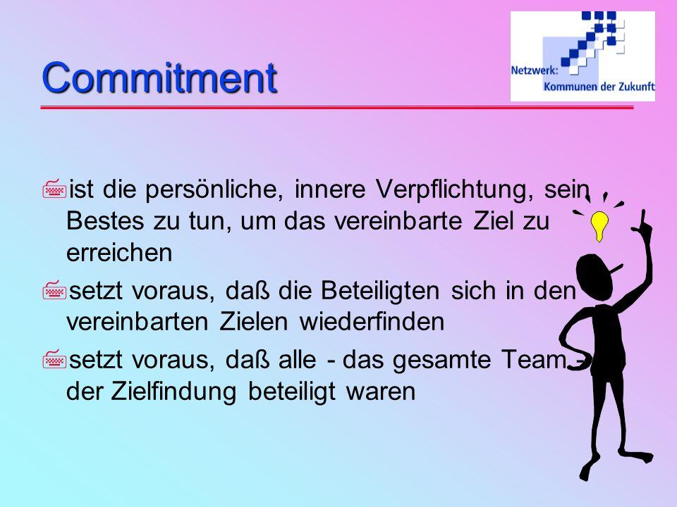 Commitment ist die persönliche, innere Verpflichtung, sein Bestes zu tun, um das vereinbarte Ziel zu erreichen.