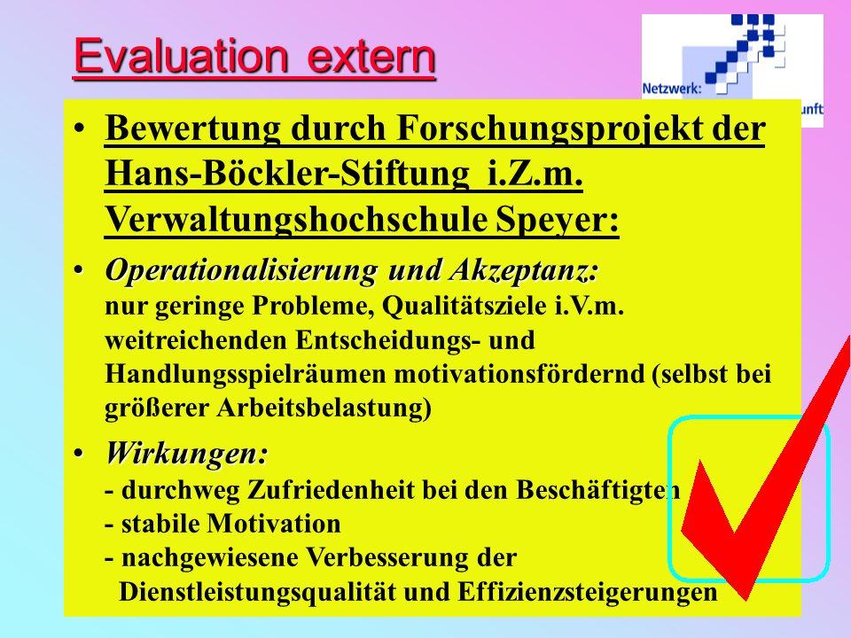 Evaluation extern Bewertung durch Forschungsprojekt der Hans-Böckler-Stiftung i.Z.m. Verwaltungshochschule Speyer: