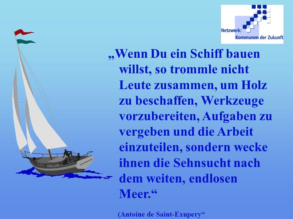 """""""Wenn Du ein Schiff bauen willst, so trommle nicht Leute zusammen, um Holz zu beschaffen, Werkzeuge vorzubereiten, Aufgaben zu vergeben und die Arbeit einzuteilen, sondern wecke ihnen die Sehnsucht nach dem weiten, endlosen Meer."""