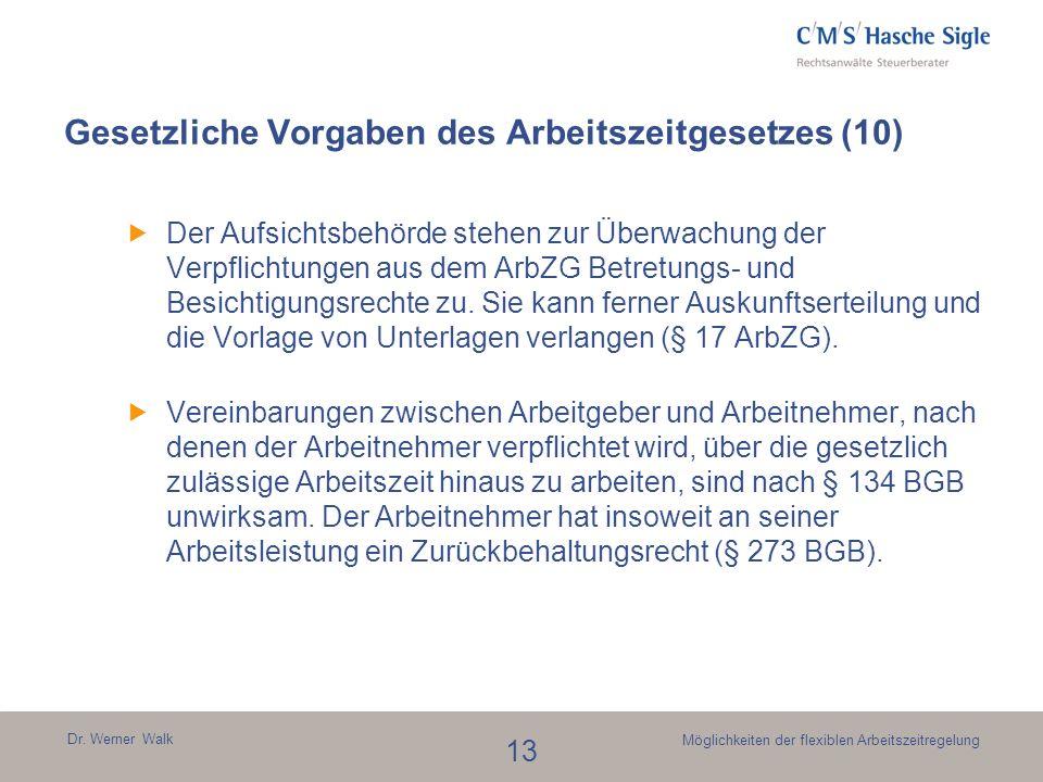 Gesetzliche Vorgaben des Arbeitszeitgesetzes (10)