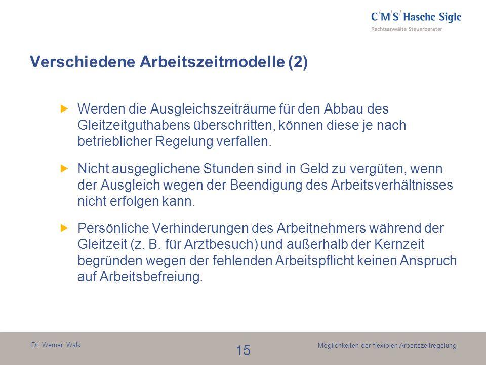 Verschiedene Arbeitszeitmodelle (2)