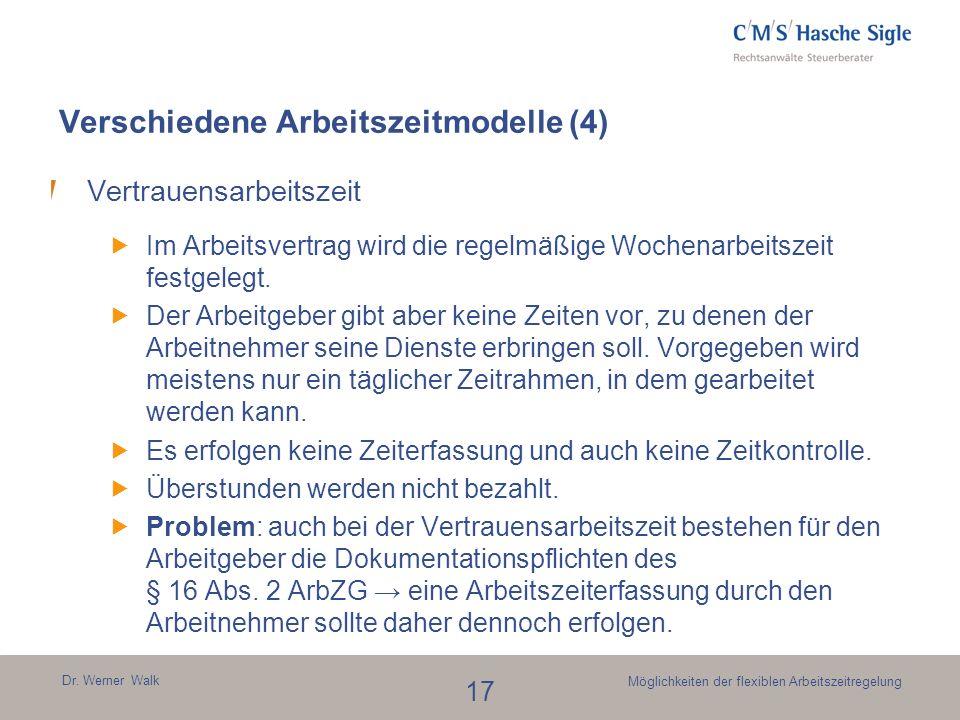 Verschiedene Arbeitszeitmodelle (4)