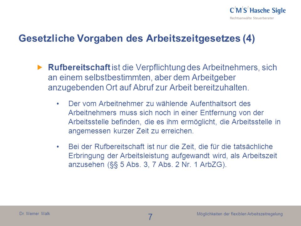 Gesetzliche Vorgaben des Arbeitszeitgesetzes (4)